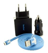 Micro-USB-Kabel, Ladegerät, Auto-Adapter