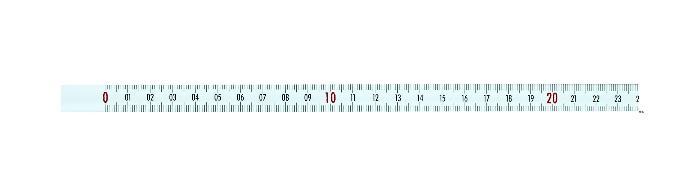 Selbstklebendes Maßband 5 m, von links nach rechts