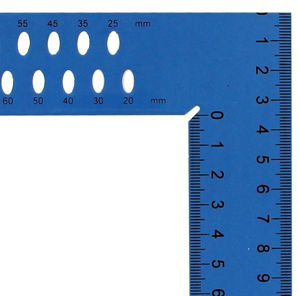 Escuadra hedue ZY 800 mm con escala de mm y agujeros de marcado SB (azul)