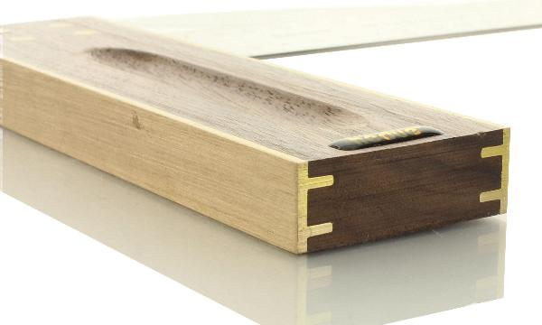 Équerre de menuisier en bois de noyer 250 mm Branche en acier inoxydable 45 mm