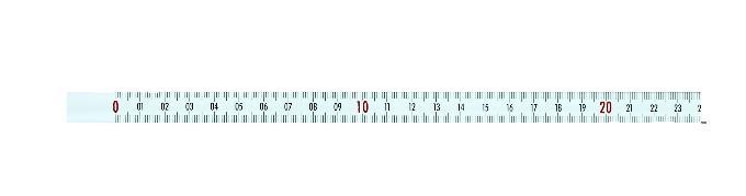 Zelfklevend meetlint 1 m, von links nach rechts